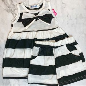 Toddler Girl Striped 2 Pieces Matching Setup